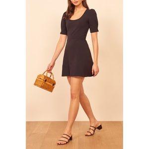 Reformation Elisha Black Puffed Sleeve Mini Dress